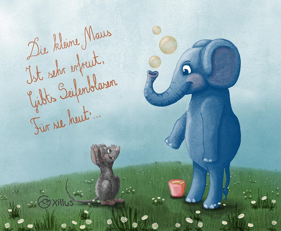 Elefant begeistert Maus mit Seifenblasen