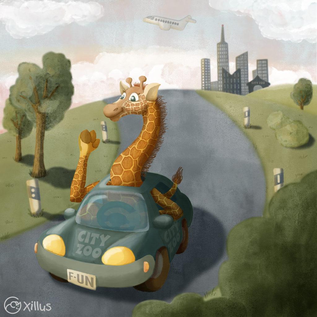 Giraffe fährt aufs Land
