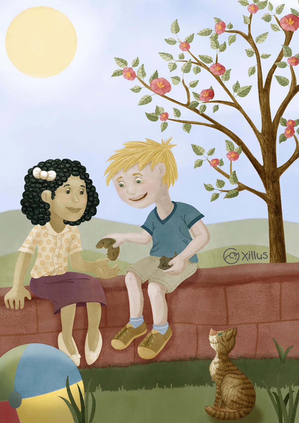 Kinder teilen Keks