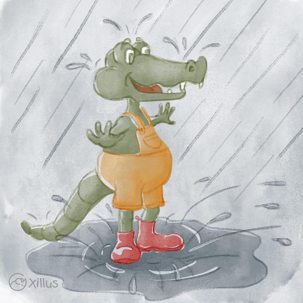 Krokodil mit roten Gummistiefeln