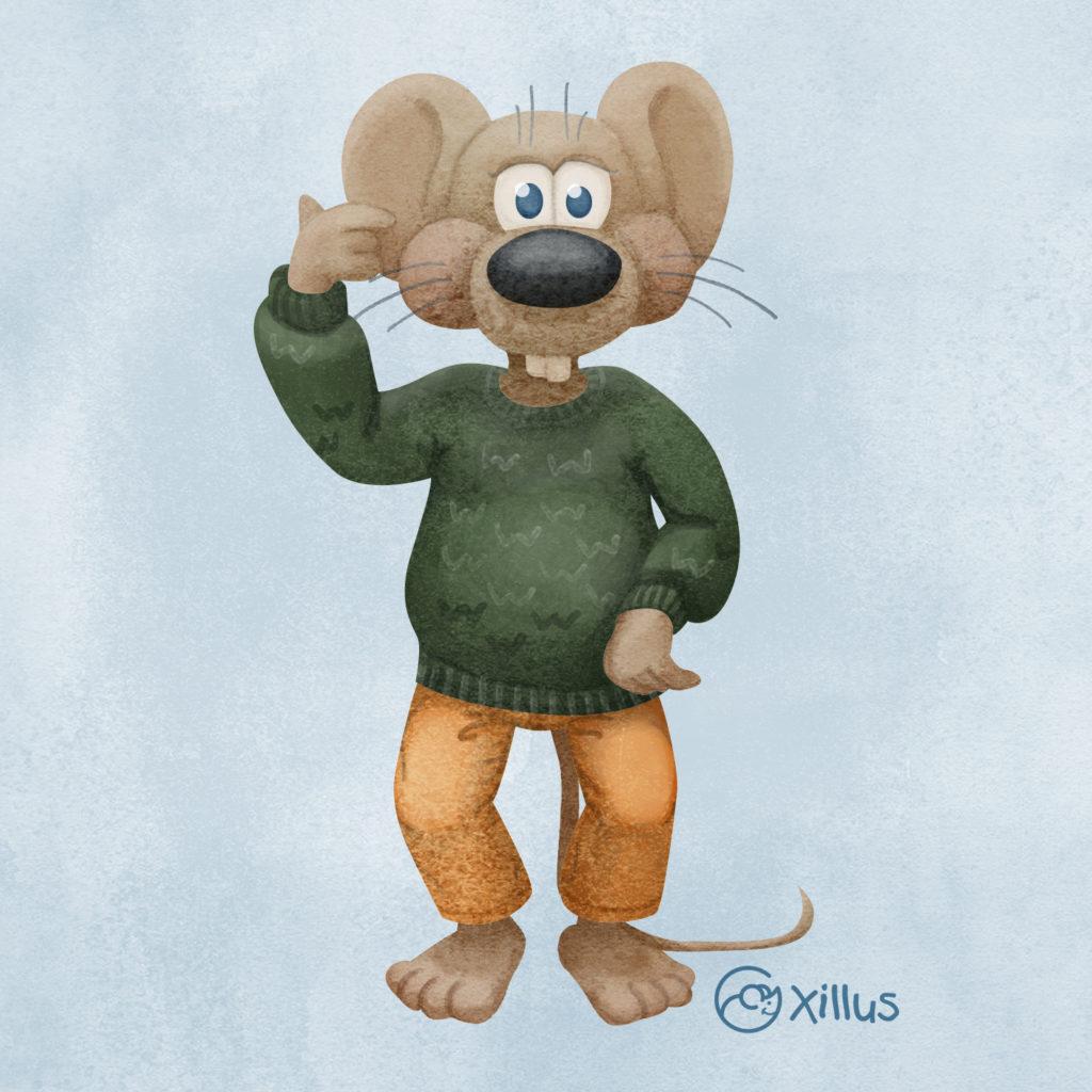 Maus in grünem Pullover.