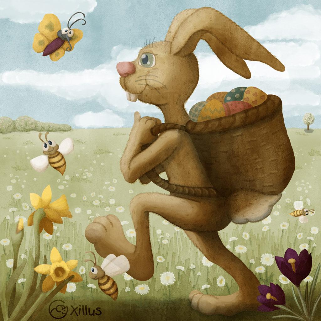 Der Osterhase bringt bunte Eier.